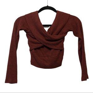 Windsor Auburn Heathered Cropped Wrap Sweater